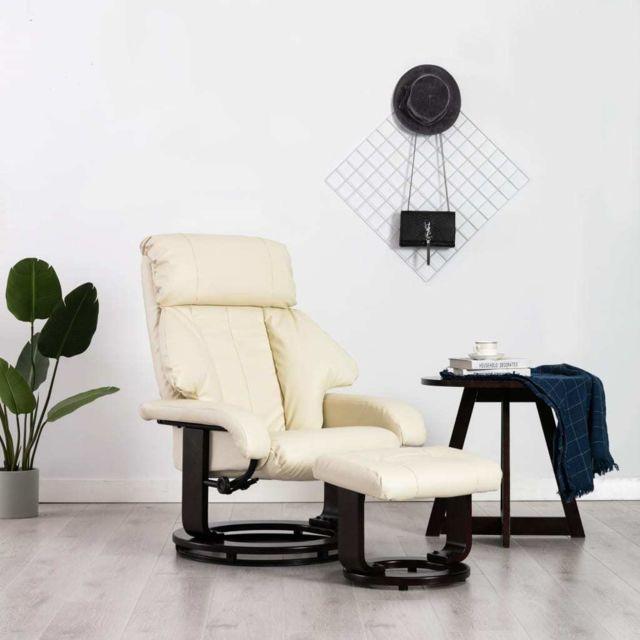Vidaxl Fauteuil Tv avec Repose-pied Blanc Crème Similicuir Inclinable Salon