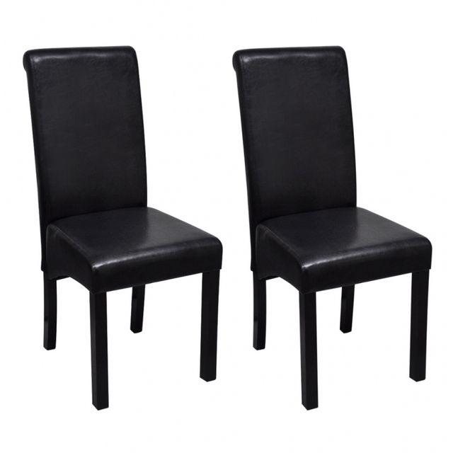 Casasmart Set de 2 chaises de salle à manger noires en cuir artificiel