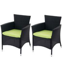 Mendler - Lot de 2 chaises de jardin polyrotin Rom Basic, fauteuil en osier ~ anthracite avec coussins verts