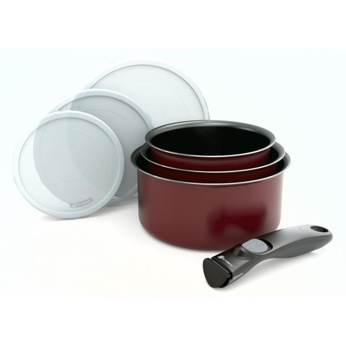 Batterie de cuisine 7 pieces + poignee amovible rouge