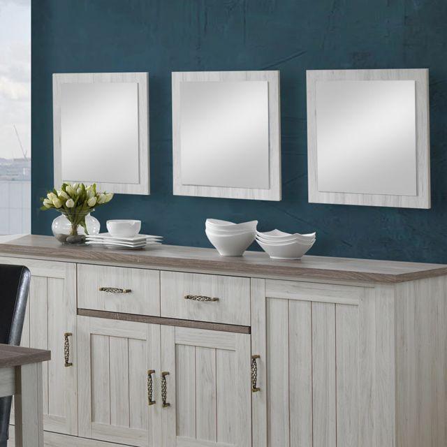 Kasalinea Miroir carré 55 cm contemporain couleur chêne clair Emina