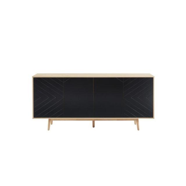 GALIA Buffet 180 cm avec 4 portes - Décor chene et noir