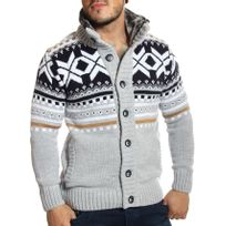 Carisma - Gilet / Veste en laine gris à motifs