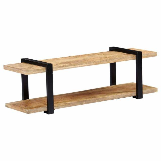 Helloshop26 Meuble télé buffet tv télévision design pratique 130 cm bois de manguier massif 2502035