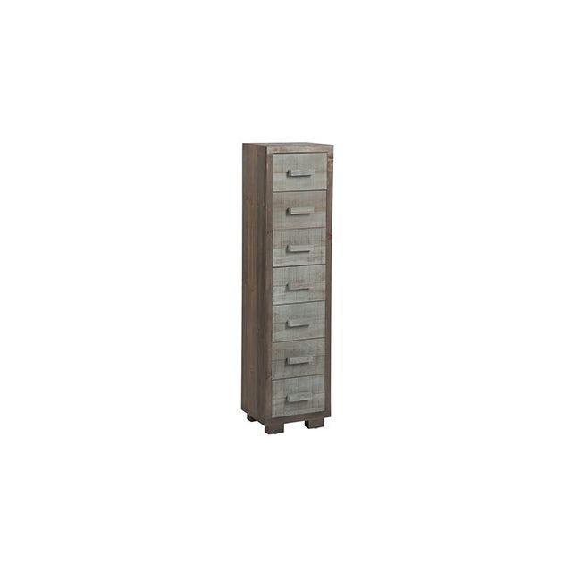 Commode 6 tiroirs 26x22x103cm en bois naturel et gris