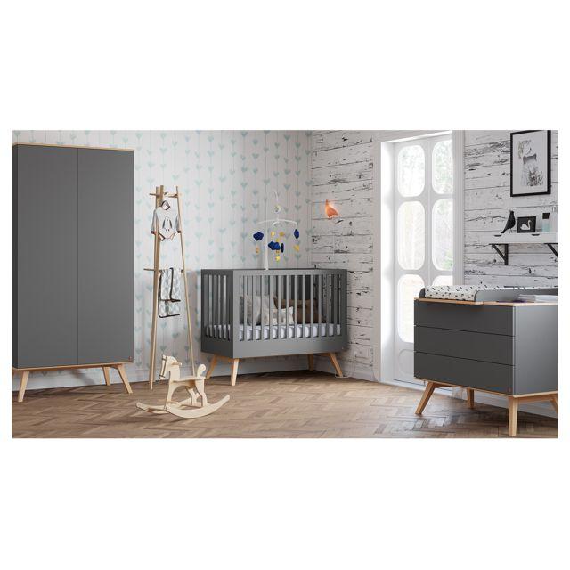 Chambre complète lit bébé 60x120 - commode à langer - armoire 2 portes  Nature - Gris