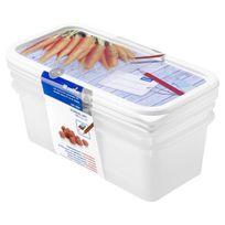 Rotho - Sundis Lot de 3 Boîtes pour congélation Domino Freeze 7553003 1.2 L 23.3x11.8x11.2 cm blanc