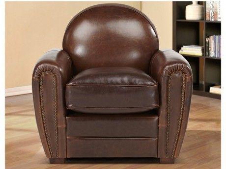vente unique fauteuil club en cuir vieilli baudoin chocolat sebpeche31. Black Bedroom Furniture Sets. Home Design Ideas