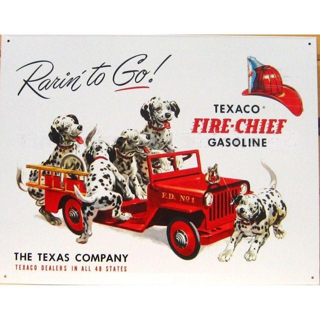 Universel Plaque texaco chien pompier dalmatien affiche tole huile usa