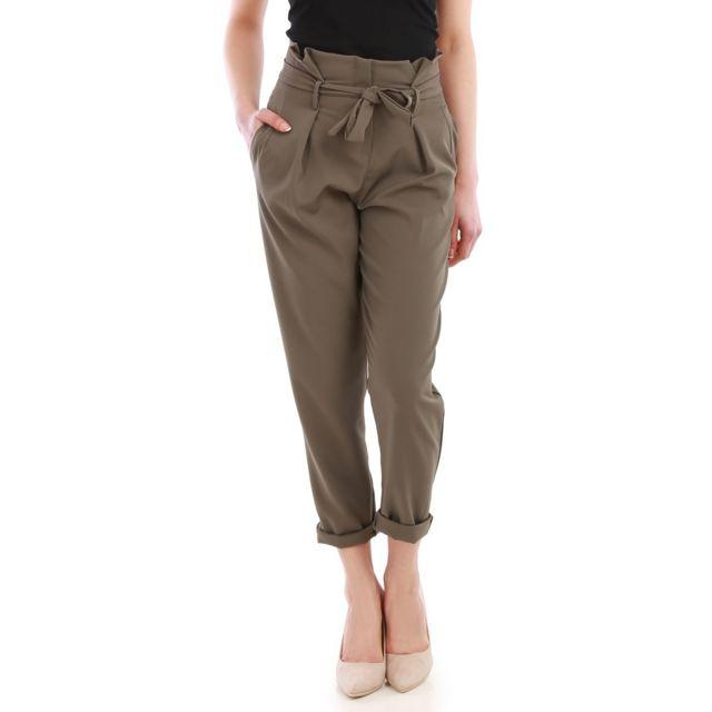 Lamodeuse - Pantalon chino kaki taille haute