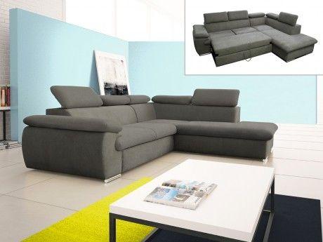 marque generique canap d 39 angle convertible en tissu avec coffre de rangement fabien taupe. Black Bedroom Furniture Sets. Home Design Ideas