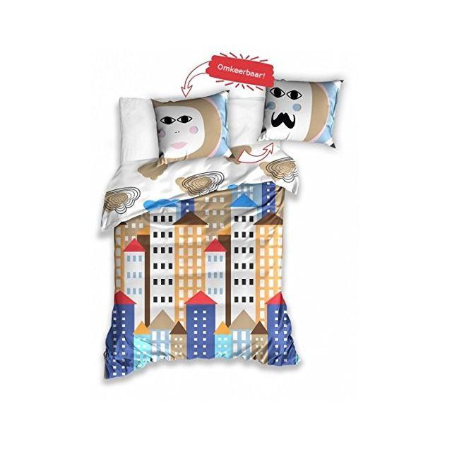 Bebe Gavroche Parure de lit ville colorée 100% coton 140x200 cm