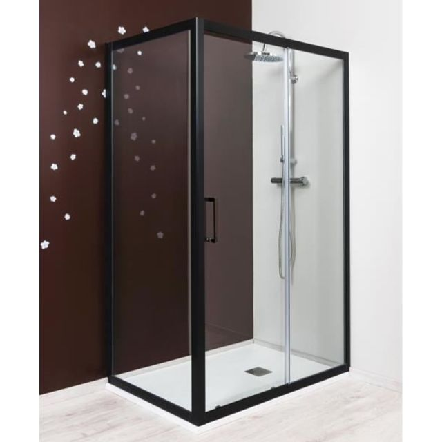 evidence paroi de douche fixe 80 cm profil noir napoli. Black Bedroom Furniture Sets. Home Design Ideas