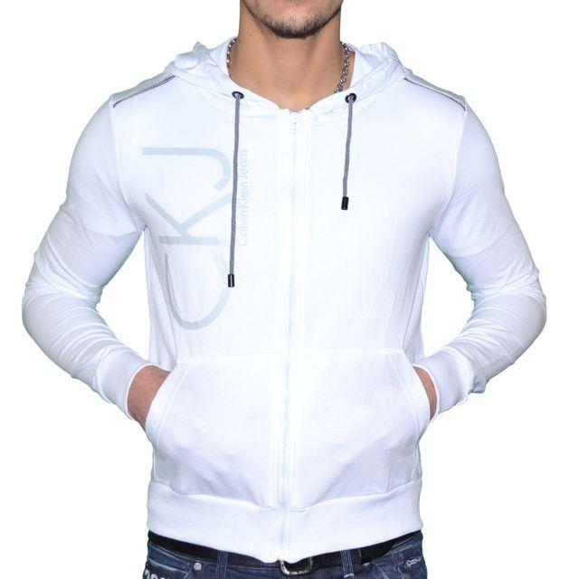 Calvin Cmq184 Blanc Veste Homme Capuche Klein Pas À Legere 7pOv7