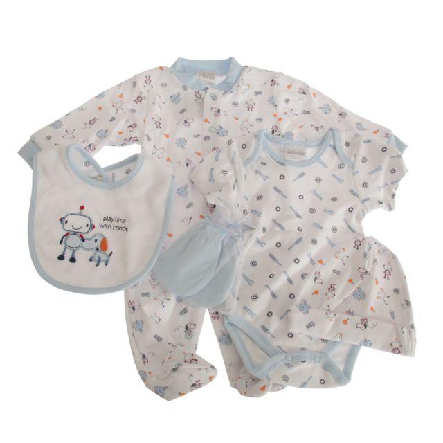 1bab495a324af Generic - Nursery Time - Ensemble à motif robot et chien - Bébé garçon  Nouveau-né