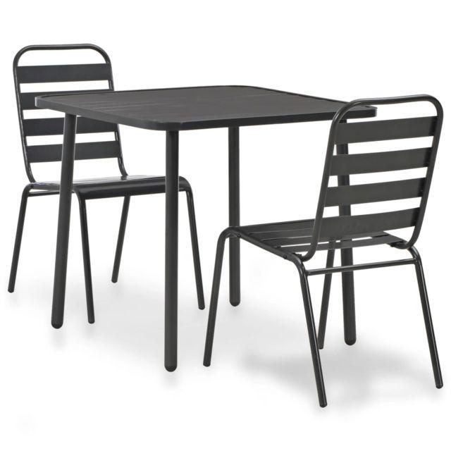 Acier de meubles pcs bistro jardinEnsembles MeublesMeubles à Gris Ensemble lattes foncé de d'extérieurGrisGris de d'extérieur 3 rxoeWdCB