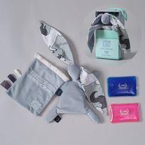 Sevira Kids - Doudou bouillotte compresse gel froid - spécial bébé - 2 en 1 - Chevalier Licorne - Gris