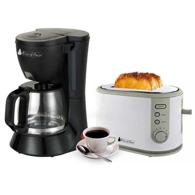 Blackpear Cafetière noir 12 tasses 680W + Grille pain 2 fentes larges 800W