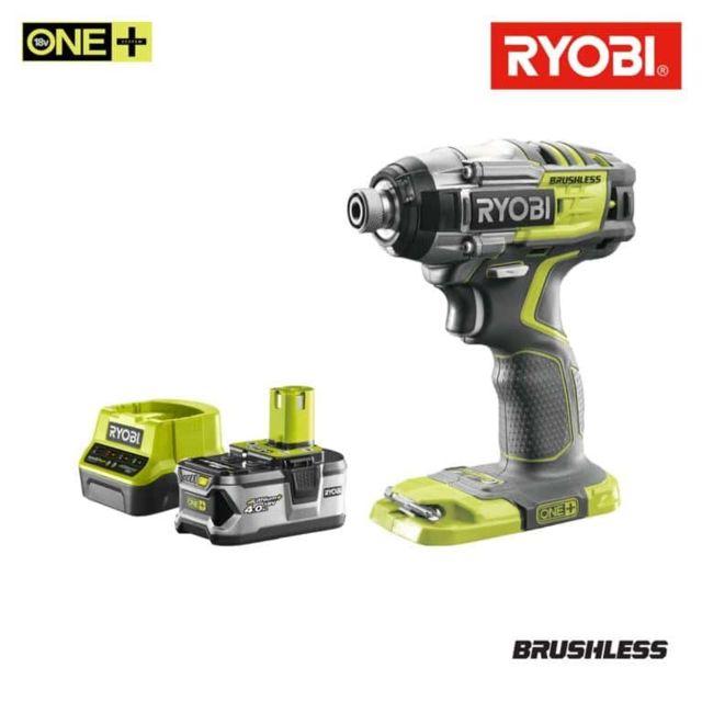 RYOBI - Pack Visseuse à choc Brushless 18V OnePlus R18IDBL-0 - 1 batterie 4.0Ah - 1 chargeur 2.0Ah R18120-140