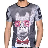 Celebrytees - Celebry Tees - T Shirt Manches Courtes - Homme - Smoking Girafe - Noir