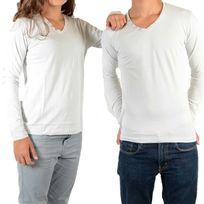 Little Eleven Paris - Tee Shirt Basic V Ls Mixte Garçon / Fille, Gris Clair Ciment