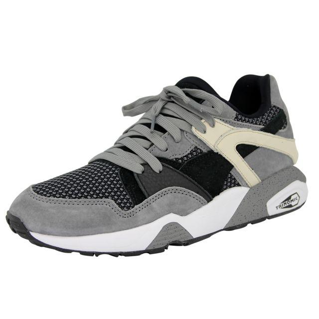best website 52e90 965b1 Puma - Blaze Tech Chaussures Mode Sneakers Homme Cuir Suede Noir Gris  Trinomic - pas cher Achat   Vente Baskets homme - RueDuCommerce