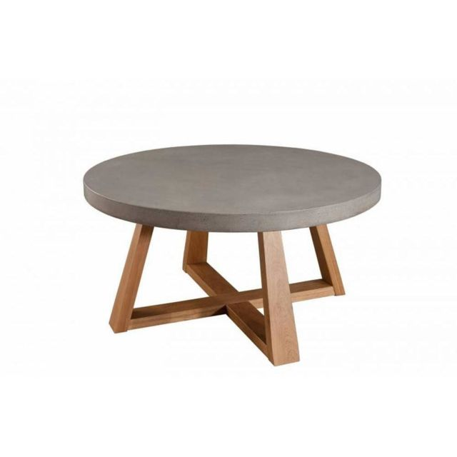 Inside 75 Table basse industrielle ronde 91 cm Nino en chêne