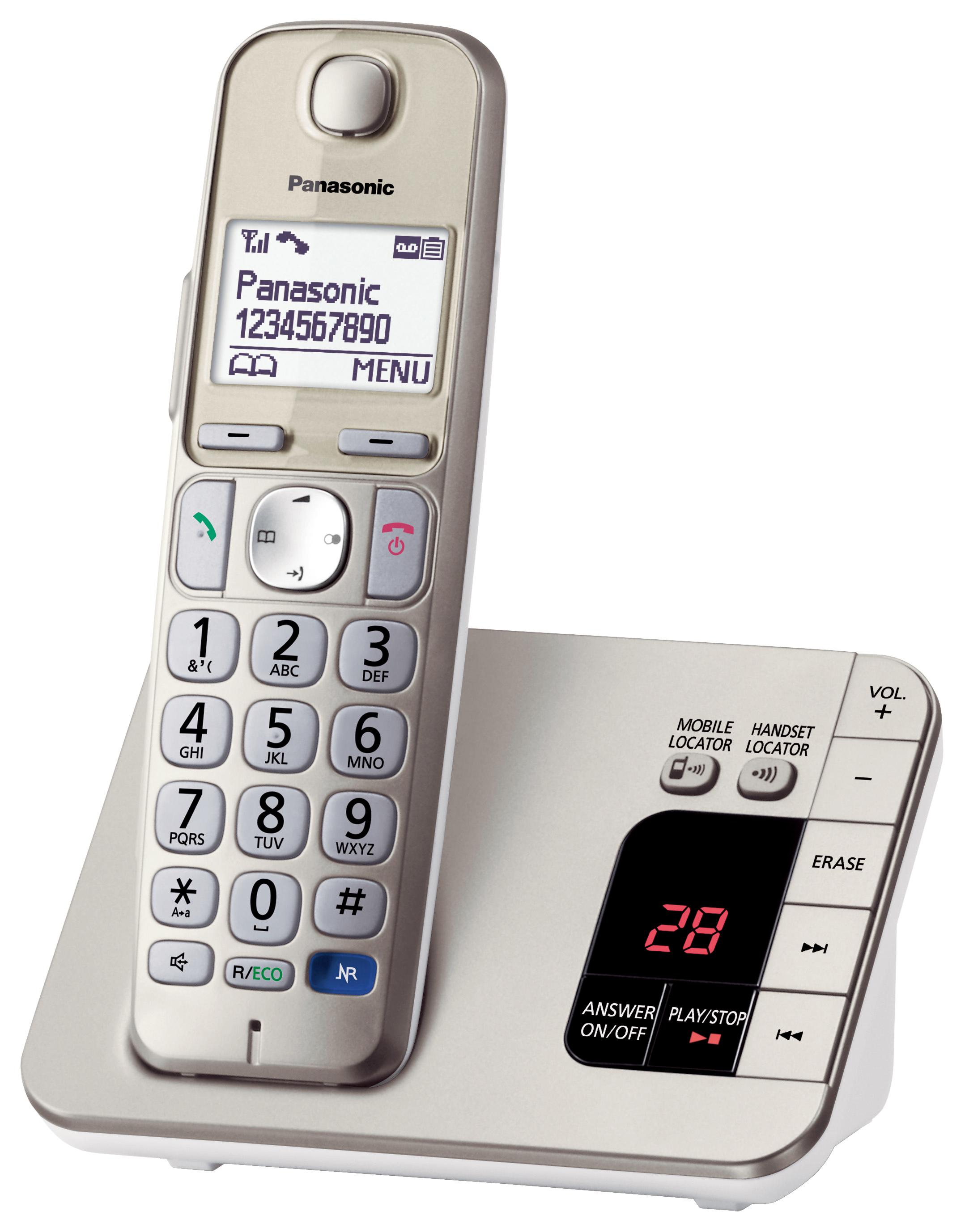 PANASONIC Téléphone sans fil pour Senior avec répondeur - KX-TGE220 - Champagne
