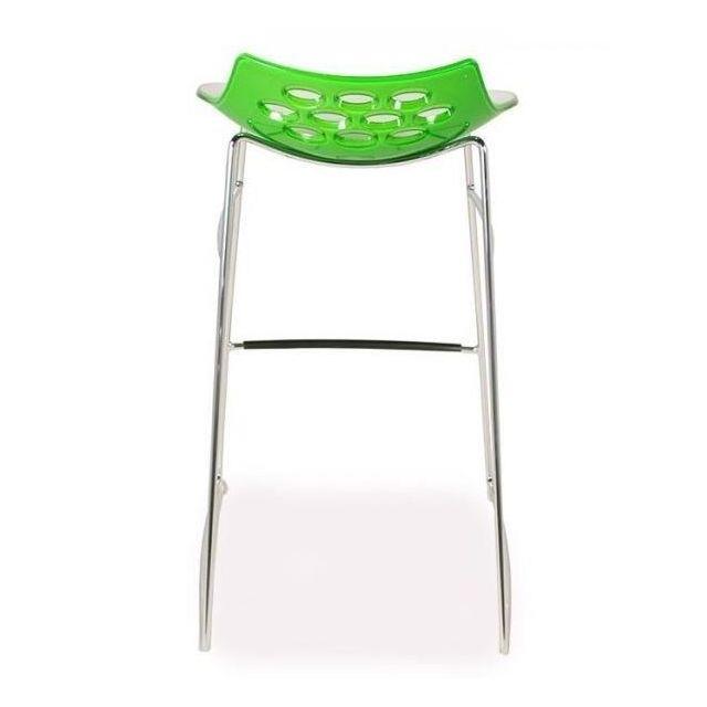 Inside 75 Tabouret de bar design Jam piétement luge assise vert et blanc
