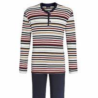 Ringella - Pyjama long en coton : tee-shirt manches longues col tunisien à rayures crème, bordeaux, noires, beiges et grises, pantalon noir