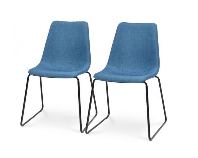 Coton Pastel Lot de 2 chaises en tissu bleu