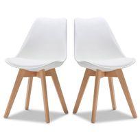 Ego Design - Chaise Norvegia Blanc pieds bois lot de 2