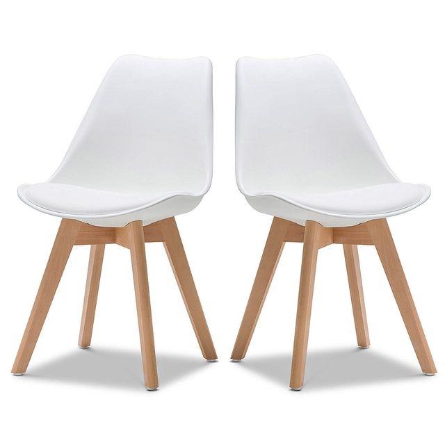 Ego design chaise norvegia blanc pieds bois lot de 2 for Chaise zons