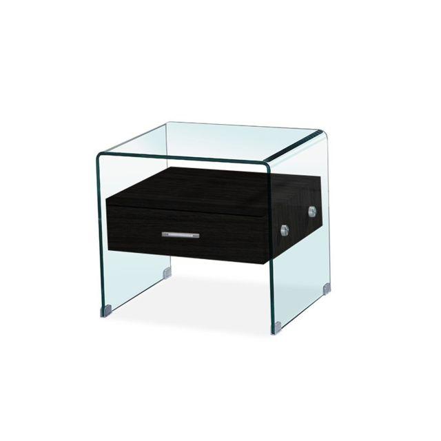 Meubler Design Table de chevet en verre Elsa - Noir