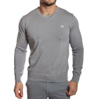 Fred Perry - Pull homme col V gris en coton fin