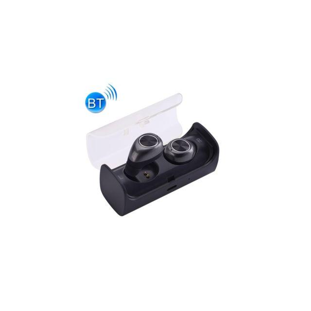 Auto-hightech Écouteurs stéréo basse binaural sans fil Bluetooth, mini écouteur à isolation intra auriculaireavec boîte de chargement,