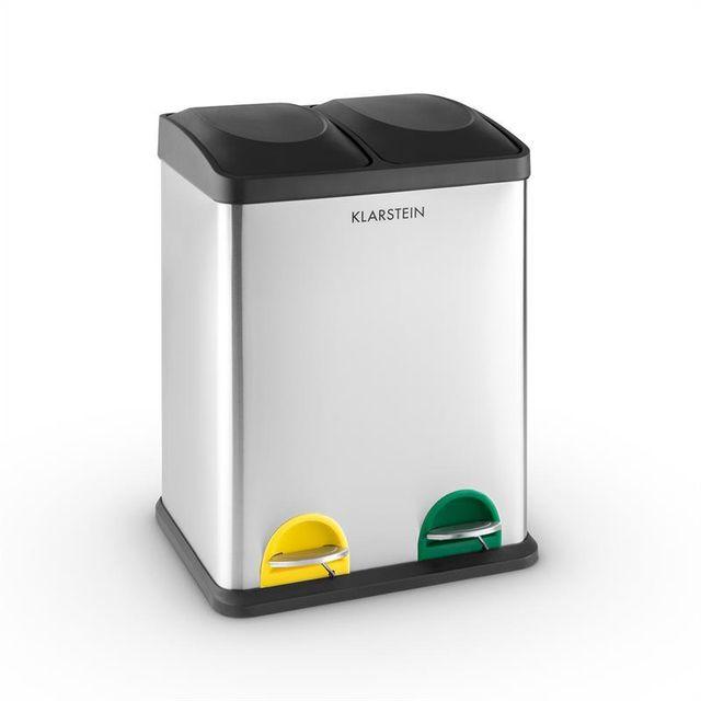 KLARSTEIN Ecosystème 2x18 Poubelle à pédale inox 36L recyclage écologie