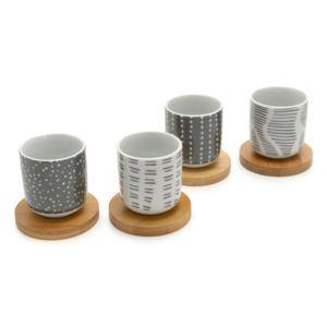 Amadeus - Tasse à café en porcelaine + soucoupe en bois motif graphique blanc / gris - Coffret de 4 pièces Galet