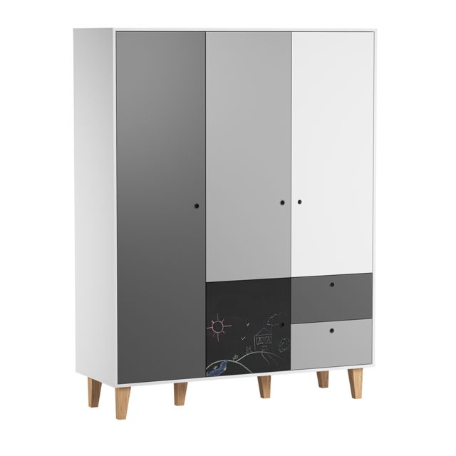 Vox Armoire 3 portes Concept - Noir