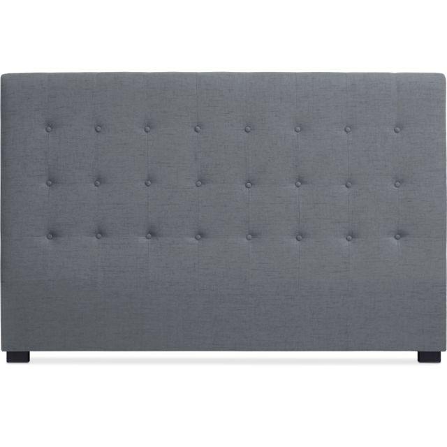 menzzo t te de lit luxor 180cm tissu gris pas cher achat vente t tes de lit rueducommerce. Black Bedroom Furniture Sets. Home Design Ideas