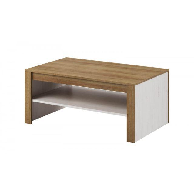 Bobochic Table basse Falco Blanc et chêne