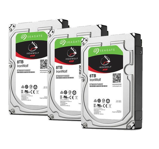 "SEAGATE Lot de 3 disques durs interne ironwolf 8 to 3.5 "" 7200 rpm 256 mo serial ata 6 gb/s pou"