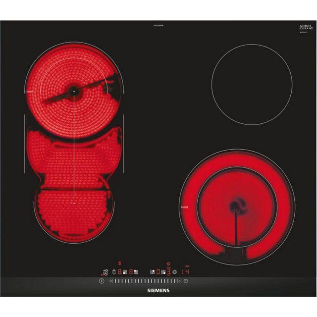 SIEMENS plaque de cuisson vitrocéramique 60cm 4 feux 7800w noir - et675fmp1e