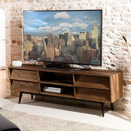 Meuble Tv 4 tiroirs 2 niches Appoline - teck foncé