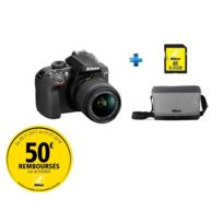 NIKON - appareil photo reflex - d3400 + objectif 18-55 +Fourre tout +Carte SDHC 8Go