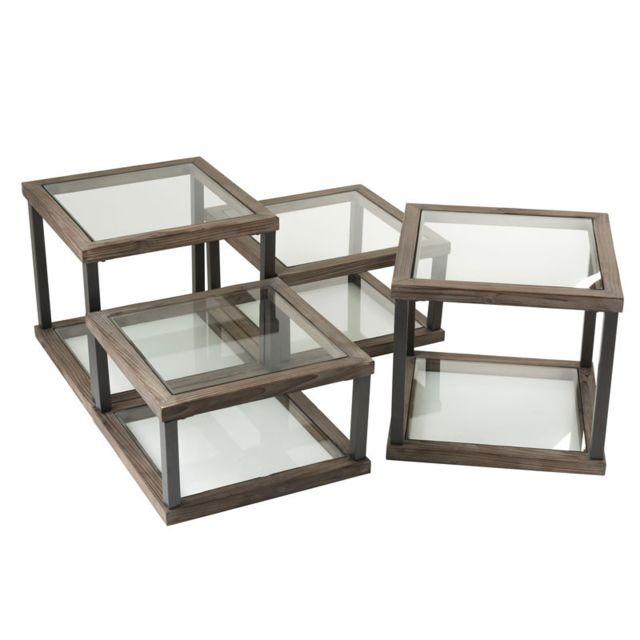 Tousmesmeubles Set de 4 Tables basses carrées Bois/Verre - Lokeren