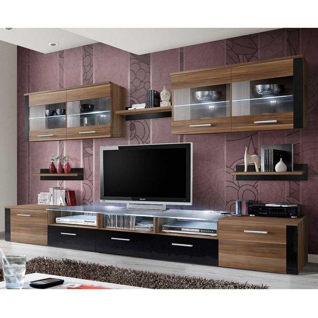 Meuble Tv Mural Design Zoom 250cm Prunier Noir