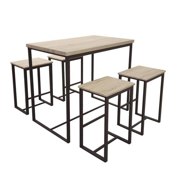 Urban Living Table bar bois acier avec 4 tabourets Chicago