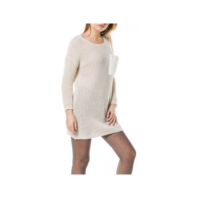 Princesse Boutique - Robe pull Beige avec poche en fausse fourrure ... dc85a1384f3a