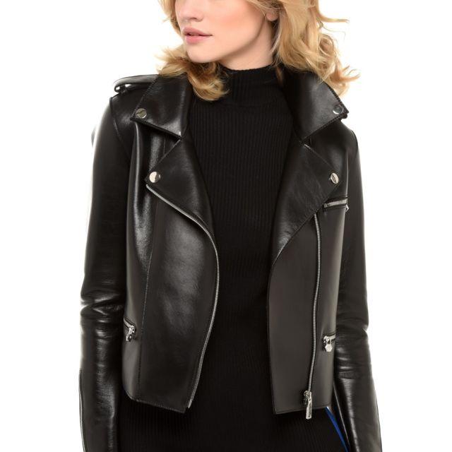 936c719825003 Arturo - Blouson cuir agneau style perfecto tendance Taille Femme - 40,  Couleur - noir
